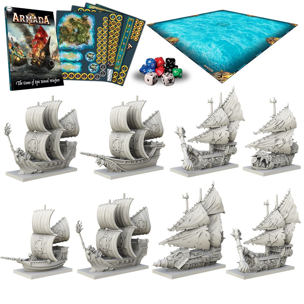 Mantic Kings Of War Armada Fantasy Naval Battle Game Box Contents