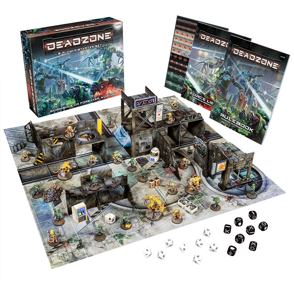 Deazone 3rd starter set. Showing box, mat miniatures, dice and scenery.